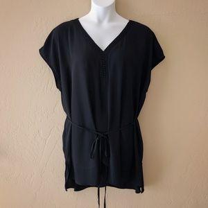 Ava & Viv Chiffon Black Crepe Tunic Size 3x